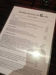 Menu at Gusto